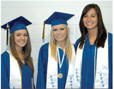 Valadictorians, Sarah Hall, Kelsey Meade and Shelby Rader