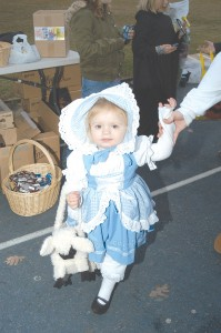 CV&T photo by Rhonda Smyth Little Lexi Tiller was cute as a button dressed as Little Bo Peep Saturday night at the Trick or Treat Trot at the Estill High track. She is the daughter of Lawrence and Donetta Tiller.