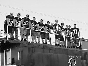 The Estill County High School 2011 senior  Football Engineers are from left,  Jeremiah Willis, Jaycob Gentry, Randy Davidson, Trevor Charles, Jordan Covey, Kevin Stamper, Logan Mize, Stephen Tipton, Zach Henery, Ronnie Yeary, Ryan Roberts, and Dalton Riddle. 