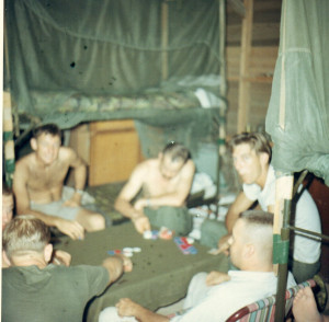 The view from my top bunk of the almost nightly poker game. Bruce Werner is on the left facing the camera. Bruce was from Hollywood, Florida. Photo submitted