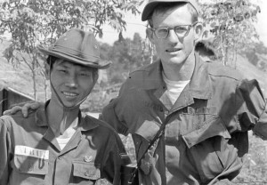 Jim Sansom and a South Vietnamese soldier pose for this picture during a medical mission at a remote Vietnamese village. Photo submitted