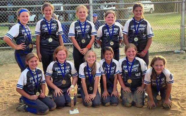 Photo submitted  Pictured in front are: Lauren Farmer, Katie Johnson, Emma Winkle, Maci Muncie, Vanna Newton and Chelsea Hardy. In back are Malory York, Neesa West, Henlee Hunter, Kylah Covey, and Kerston Osborne. Their coaches, not pictured, are Jamie Winkle, Chad Hunter, Lynn West and Bryan Covey.
