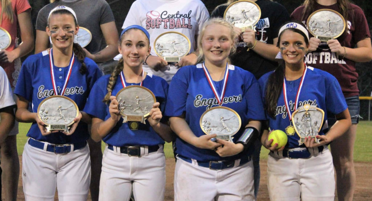 Left to right, Sarah Barnes, Abby Winkle, and Sarah  Wiseman were named to the 14th Region All-tournament team.  McKeely Muncie was named 14th Region MVP.
