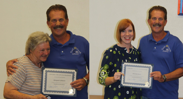 Photos by Lisa Bicknell  In top photo, Margaret LeMaster and school board chair Robbie Starling share a laugh.  LeMaster was named August's classified employee Mountain Mover.  Below, Amanda Owens was named certified employee Mountain Mover for August.
